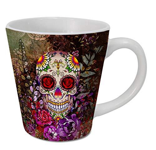 Sweet Gisele Latte-Tasse mit Totenkopf-Motiv, Blumendruck, Kaffeetasse, Tag der Toten Design, schöne lebendige Farben, tolle Neuheit, 325 ml, Latte, mehrfarbig