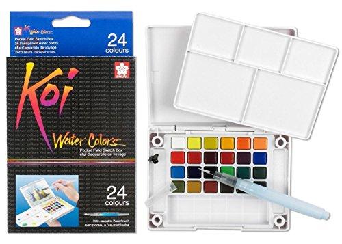 lovithanko Sakura Koi Watercolor - Pocket Field Sketch Box - 24 Half Pan Transparent Colors ##beamerboy-1104