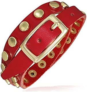 Genuine Red Leather Gold Color Round Circle Stud Double Wrap Belt Buckle Bracelet Length: 17.2