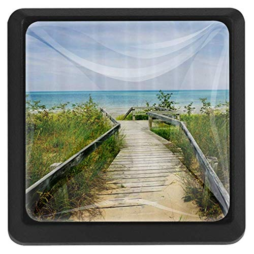 Boardwalk Over Dunes at Beach Pinery and Provincial Park Ontario Canada Holidays Picture, 3 Pcs Crystal Class Cabinet Knobs Drawer Kitchen Cabinets Dresser Cupboard Wardrobe Pulls Handles 35mm