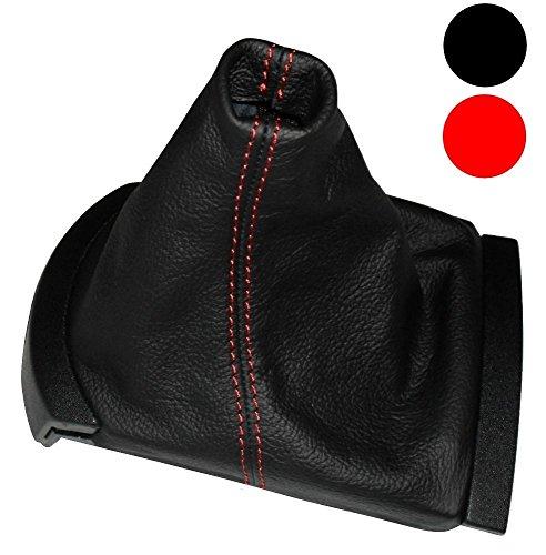 AERZETIX - Funda para palanca de cambios - 100% Piel Genuina - Color de Piel: Negro - Color de Costuras: Rojo