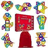 Limmys Magnetische Bausteine – Magnetspielzeug ab 3 Jahre für Jungen und Mädchen – Pädagogisches Naturwissenschaftliches Spielzeug 42-teilig mit Ideenheft und eine Bonus Kordelzugtasche