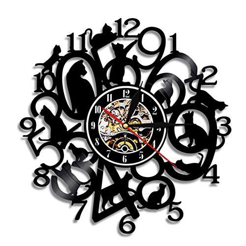 Gatos LindosIluminación de Pared Amimals Reloj de Vinilo Cambio de Color Vintage...