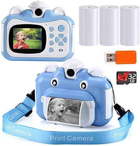 Instant Print Camera for Kids Zero Ink Toy 1080p Video Camera with 3 Print Paper 32GB Card Card product image