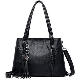 New Leather Tassel bags Large Capacity Women Shoulder Messenger Bag Handbag Big Handbags,Black,S