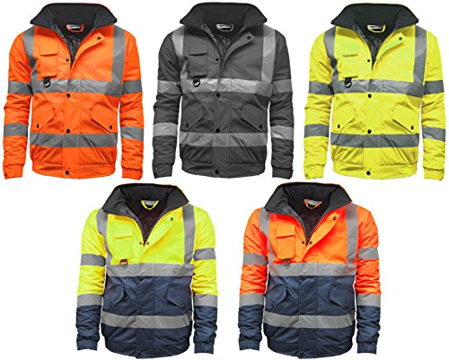 STS Mens Waterproof Two Tone Bomber Jacket Hi Vis Visibility Work Wear Hi Vis Standard Orange/Navy