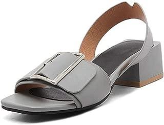 Bonrise Womens Block Heeled Ankle Strap Sandal Slip On Anti-Slip Summer Outdoor Chunky Heel Dress Shoes