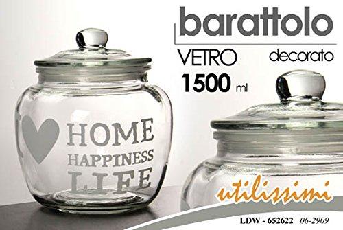 BARATTOLO IN VETRO SHABBY CHIC 1500 ml DECORATO BARATTOLI CUCINA CASA SALE ZUCCHERO CAFFE