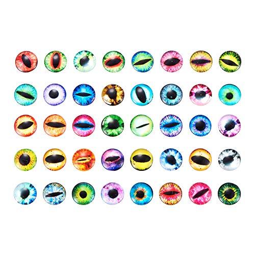 PandaHall 200 Stück Auge Gedruckt Halbr& Kuppel Glascabochons Gemischte Farbe Größe 12x4mm