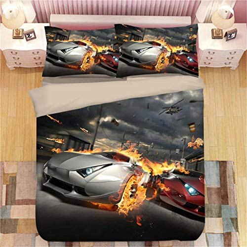 XYXSS 4Pcs Duvet Covers Set Double Bed With Bed Sheetblack Flame Supercar Carwrinkle Silky Soft Microfiber With 2 Pillowcases Hypoallergenic Bedding Set(200 X 200 Cm)