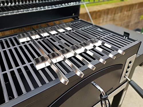 JD Europe - Pinchos de acero inoxidable para barbacoa, diseño plano con estante, 6 pinchos + 2 estantes para parrilla con bolsa de almacenamiento, longitud 41 cm, ancho 1 cm y 2 mm de grosor.