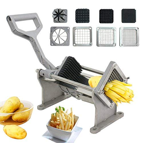 XtremepowerUS Commercial Grade Potato French Fries Cut Apple Fruit Vegetable Cutter Slicer w/ 4 Blades Stainless Steel