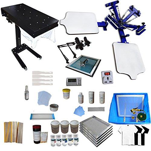 Screen Printing Machine 2 Station 4 Color Screen Printing for T-shirt DIY Screen Printing Press Silk Screen Printing Kit