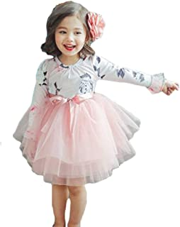 yongy Tutu Princess Casual Dress Printed Puff Long Sleeves for Baby Girl