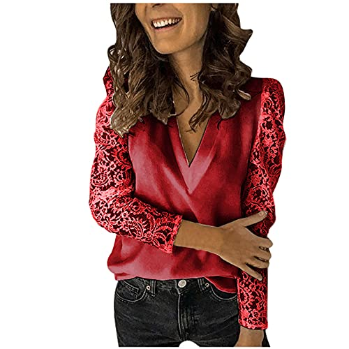 Blusa de manga larga para mujer, cuello alto, cuello alto, cuello alto, camisa suelta, camisa de malla, blusa básica con cuello en V Vino L