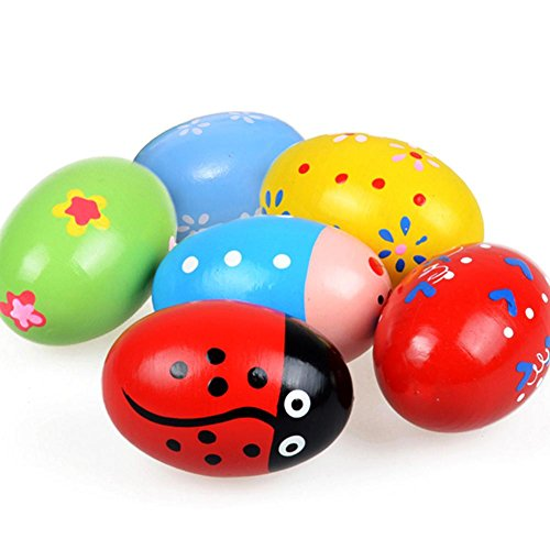 6 PCS Wooden Colorful Large Size Toy Egg Maraca For Children