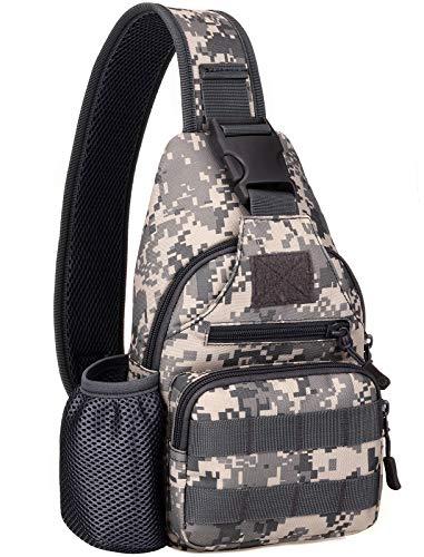 BlesMaller Mochila táctica militar MOLLE Crossbody Pack con puerto de carga USB en el pecho y en el hombro, mochila para pañales EDC para moto, bicicleta, mochila de día, ACU (parche incluido)