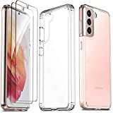 Ferilinso for Samsung Galaxy S21 5G Case with 2 Pack Tempered Glass Screen Protector [Hard PC Back+TPU Flexible Frame] [Military Grade Protection] [10X Anti-Yellowing] [Full Body Coverage]-ClearCover