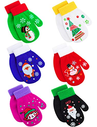 Cooraby 6 Pairs Christmas Toddler Magic Stretch Mittens Xmas Baby Knitted Gloves Mittens