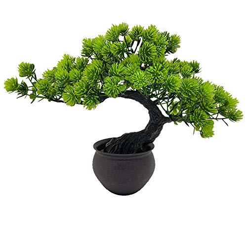 Fycooler Künstlicher Bonsai-Baum Künstliche Miniaturpflanzen im Topf Japanischer Zenbaum 33cm Künstliche Zimmerpflanzen Wacholder Bonsai Gefälschtes Pflanzengrün Home-Office-Dekor Desktop-Display