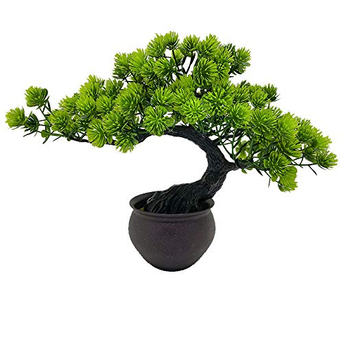 Fycooler Artificial Bonsai Tree Miniature Artificial Plants Potted Japanese Zen Tree 33 cm in Width Artificial House Plants Juniper Bonsai Fake Plant Greenery for Home Office Decor Desktop Display