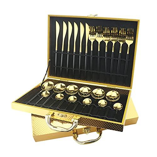 Juego de cubertería de 24 piezas, multicolor, de acero inoxidable, para 6 personas, color dorado, cubiertos de comedor, cuchillo, tenedor, cuchara, vajilla (caja de regalo dorada)