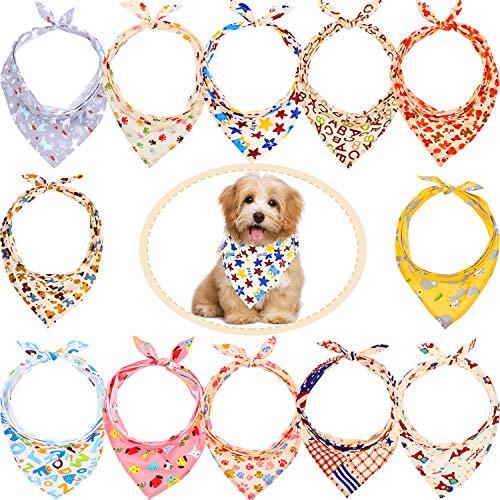 12 Stück Hundehalstücher – Dreieckstuch Hunde-Schal, waschbarer Wendedruck, Lätzchen Hund Kopftuch Set, geeignet für kleine oder mittelgroße Katzen und Hunde Haustiere (Tier-Buchstabe)