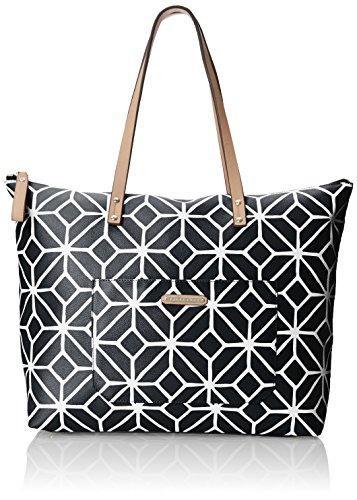 Trina Turk Women's Poolside Shopper, Black/White Trellis One Size