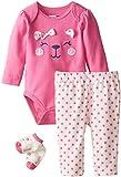 Vitamins Baby Baby Girls' Newborn Sweet Bear Face 3 Piece Creeper Pant Set, Pink, 3 Months