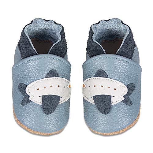 IceUnicorn Baby Lauflernschuhe Jungen Mädchen Weicher Leder Krabbelschuhe Kleinkind Babyhausschuhe Rutschfesten Wildledersohlen(Hellblau Flugzeug, 0-6 Monate)