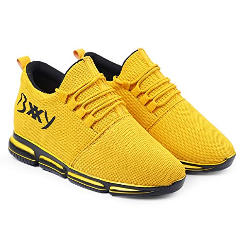 Global Rich Men's 3 Inch Hidden Height Increasing/Elevator Mesh Material Running Casual Sports Shoes Yellow Leather 6 UK (710Yellow6)