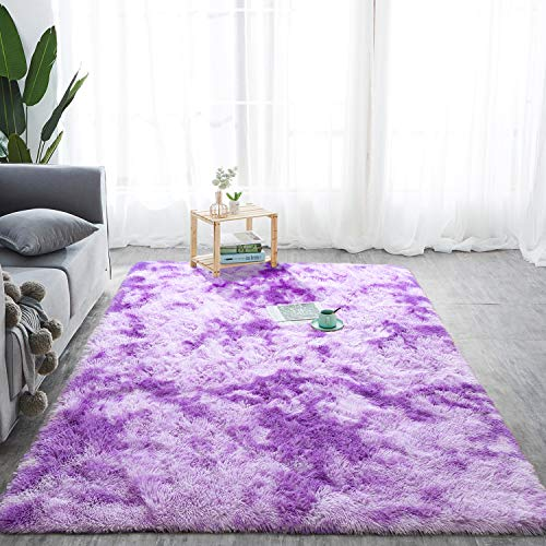 Softlife Fluffy Bedroom Area Rugs 5 x 8 Feet Mordern Collection Rug Indoor Shaggy Carpet for Girls Kids Room Living Room Dorm Nursery Home Holiday Decor, Purple & White