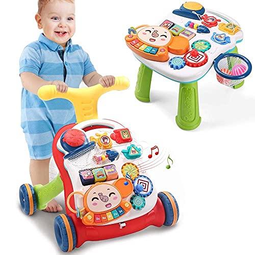BAKAJI Primi Passi 2in1 Trasformabile in Tavolo Centro Attivita Giocattolo per Bambini Prima Infanzia con Manico Regolabile Ruote Antiscivolo Tastiera Suoni e Sonagli Gioco Educativo