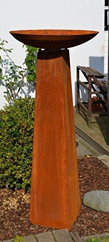 Säule mit Schale Rost, Höhe kpl. ca 128cm!!, aus Metall Rostsäule Edelrost Säule Deko !!!! 2er Set !!!!, Gartendeko Feuerschale !!!! Schale ca. 54cm Durchm.!!!!