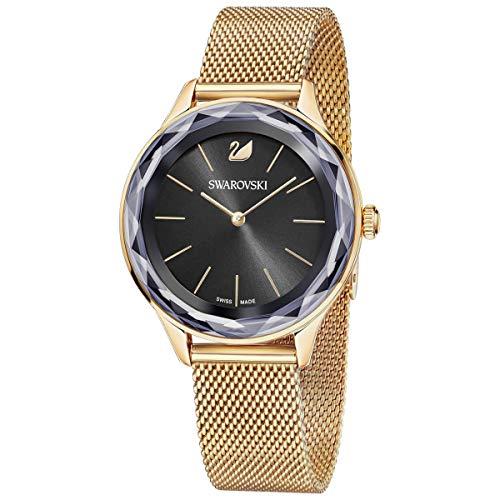 SWAROVSKI Reloj Octea Nova de cristal auténtico, correa milanesa, negro, tono oro rosa, piedra de alta clase tachonada hecha en Suiza, joyería y accesorio diario para mujer