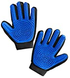 Gorilla Grip Pet Grooming Gloves, 262 Soft Grooming Nubs to Brush Pets, Hair Removal Mitts Remove Cat and Dog Shedding Loose Fur, Easy Clean, for Massaging, Bathing, and Petting Dogs, Cats, Blue Pair