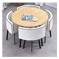 耐久性のあるテーブルと椅子のセット ホームリビングルーム表とチェアセット4現代のミニマリストスタイルのキッチンレストランスタディ表示90cmのダイニングテーブル DYYD (Color : White 2)