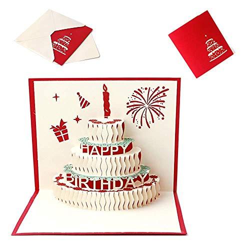 Geburtstagskarte 3D Pop-up Geburtstagskuchen Grußkarte mit Roter Kerze,Geburtstagsgeschenkkarte für Sie und Ihn (Umschlag Enthalten)