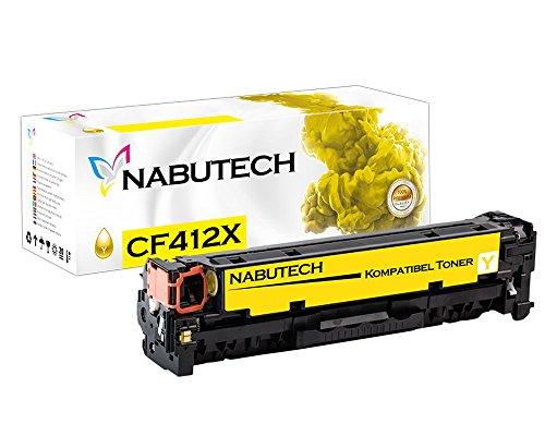Nabutech toner als vervanging voor HP CF412X CF412A geel compatibel met HP Color Laserjet Pro M452nw, M452dn toner, Pro MFP M377dw, M477fnw toner, MFP M477fdn toner | Getest volgens ISO-norm 19798 |