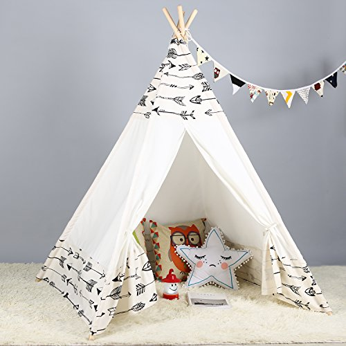 Steegic Kids Teepee Indoor Play Tent - Large Cotton Canvas Children Indian Tipi Playhouse with Carry...