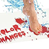 Jialili Halloween Bath Mat, Bloody Bathroom Mat Color Changing When Wet, Halloween Horrible Color Changing Bathroom Blanket, lood Rug Shower Carpet - Turns Red When Wet & Turns White When Dry (A)