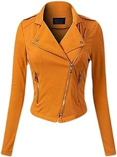 Womens Lapel Full Zip Long Sleeve Moto Biker Coat Motorcycle Short Jackets