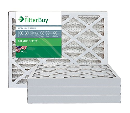 FilterBuy 16x20x2 MERV 13 Pleated AC Furnace Air Filter, (Pack of 4 Filters), 16x20x2 – Platinum