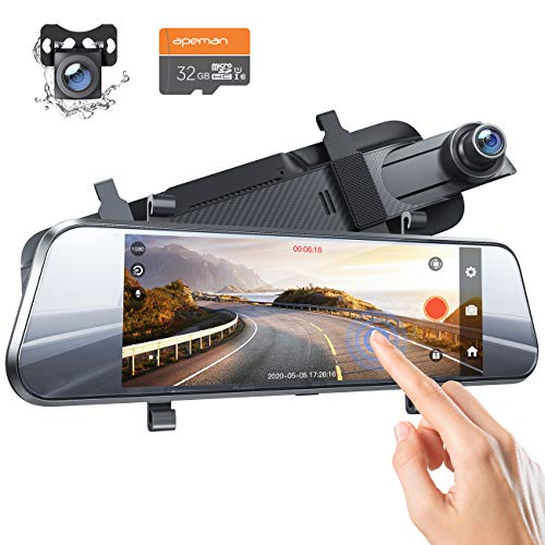 APEMAN 7-inch Touch Screen Mirror Dash Cam Front and Rear Camera, Dual 1080P, IPS Streaming Display, Waterproof Rear Camera, Backup Assistance, Parking Mode, Loop Recording, and More