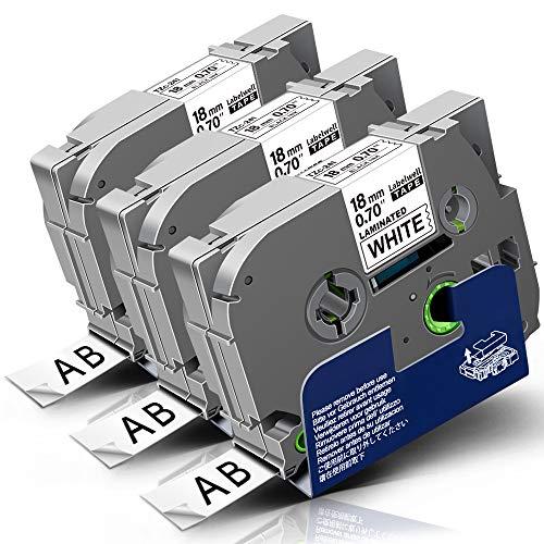 3x Labelwell 18mm Tzc-241 Schwarz auf Weiß Kompatibel Schriftband Ersatz für Brother Tze-241 Tze241 Tz-241 für Brother P-Touch PT D450VP D400 E300VP E500VP P900W P950NW D600VP P750W Beschriftungsgerät