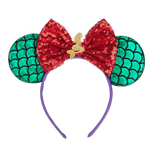 FANYITY Mouse Ears,Mice Sequin Ears Headbands for Boys Girls Women Cosplay Costume Princess Party Birthday Christmas Party Decorations (Mermaid Red)