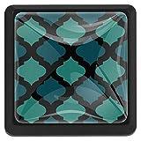 EZIOLY Mosaico árabe azul tono cuadrado para armarios de cocina, armarios, aparadores, tiradores de cajón, 3 piezas