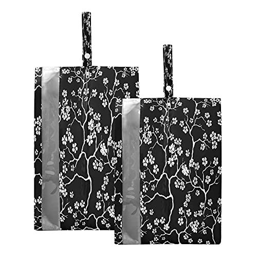 F17 Bolsas de viaje para zapatos de flores de cerezo, bolsa de almacenamiento, impermeable, portátil, ligera, bolsa de almacenamiento para zapatos de viaje para hombres y mujeres, 2 unidades