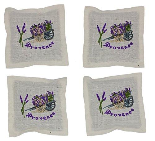 4 Stück (4 x 25 Gramm) Lavendel 100 Gramm Duftkissen Leinen 35g mit Reissverschluss Lavendelsäckchen Duftsäckchen Modell Provence oder roter Mohn (Flieder weiß)