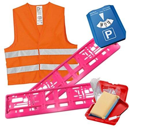 Auto-Geschenk-Set SIE - Führerschein - neues Auto - mit 2 Kennzeichenhaltern in Pink, Parkscheibe, Warnweste, Eiskratzer, Reifenprofilmesser, Scheibenschwamm und Handschuhen - für die Frau